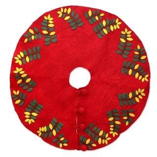 Handcrafted Wool Felt 'Jungle Christmas' Tree Skirt (India)