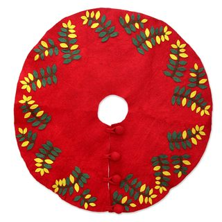 Handmade Wool Felt 'Jungle Christmas' Tree Skirt (India)