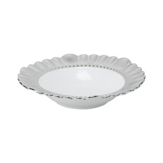 Silver Porcelain Scalloped Rim Soup Plate (Pack of 6)