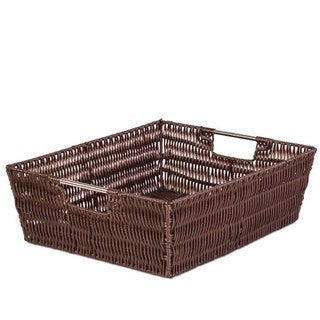 Brown Flat Storage Woven Basket