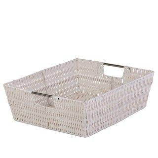 Storage Woven Basket - White Flat