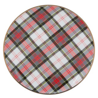 10 Strawberry Street Red, Green, and White Porcelain Plaid Appetizer Plates (Pack of 6)