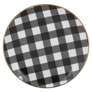 Black and White Porcelain Plaid Appetizer Plates (Pack of 6)