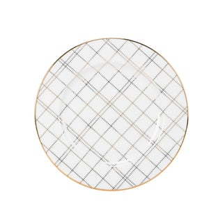 10 Strawberry Street Gold Porcelain Plaid Salad Plate (Pack of 6)