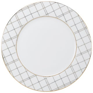 10 Strawberry Street Goldtone Porcelain Plaid Dinner Plate (Pack of 6)