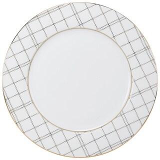 10 Strawberry Street Goldtone Porcelain Plaid Dinner Plate (Pack of 6)