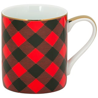 10 Strawberry Street Buffalo Red Porcelain Plaid Mugs (Pack of 6)