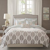 Madison Park Essentials Pelham Bay Coral and Green Complete Comforter and Cotton Sheet Set