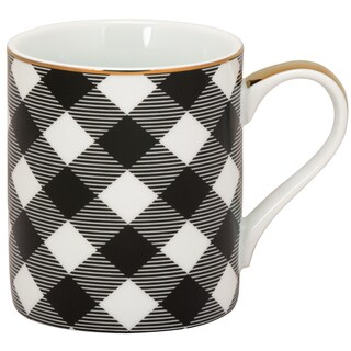 10 Strawberry Street White, Black and Gold Porcelain Plaid Mug (Pack of 6)