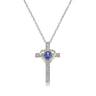 Glitzy Rocks Sterling Silver Tanzanite and White Topaz Heart in Cross Necklace