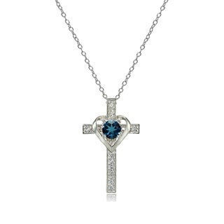 Glitzy Rocks Sterling Silver London Blue Topaz and White Topaz Heart in Cross Necklace