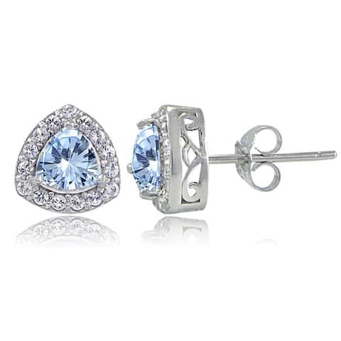 Glitzy Rocks Sterling Silver Gemstone Trillion-Cut Stud Earrings