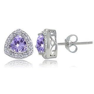 Glitzy Rocks Sterling Silver Gemstone Trillion-Cut Stud Earrings