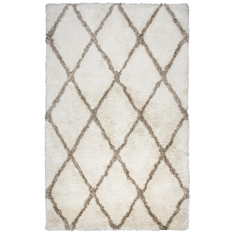 Hand-tufted York Ivory Solid Polyester Area Rug (8' x 10') - 8' x 10'