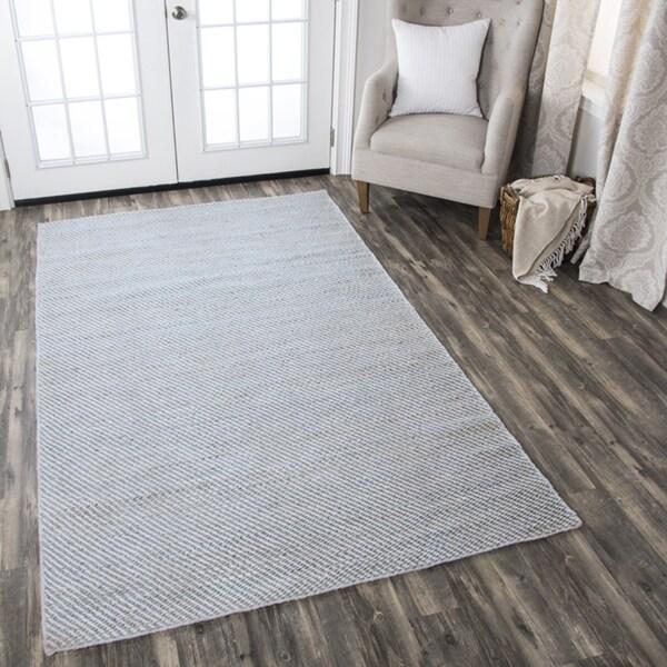 Hand-woven Ellington Natural Stripe Jute/ Wool Area Rug (8' x 10')