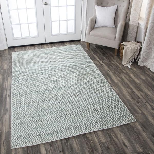 Shop Hand Woven Ellington Natural Chevron Jute Wool Area Rug 8 X