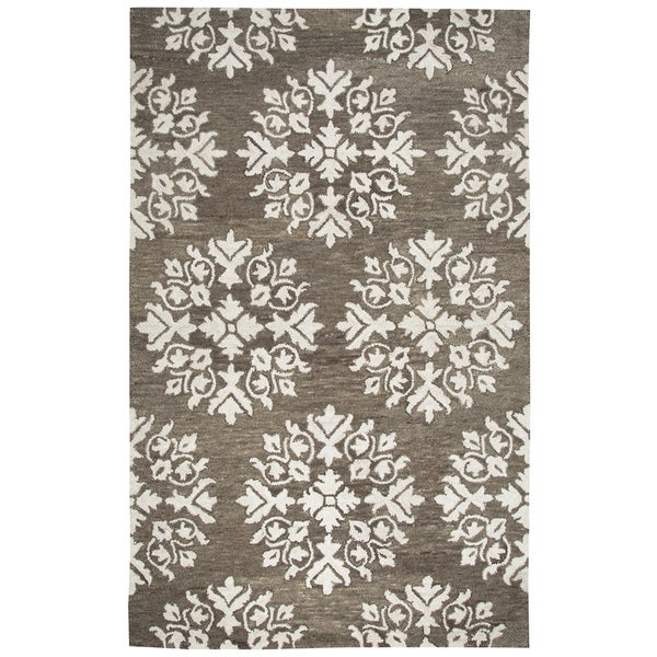 Hand-tufted Leone Brown Medallion Wool Area Rug (8' x 10')