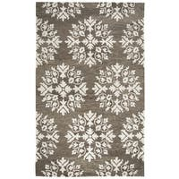 Hand-tufted Leone Brown Medallion Wool Area Rug  (9' x 12')