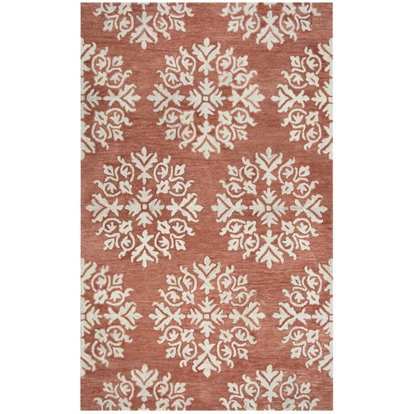 Hand-tufted Leone Coral Medallion Wool Area Rug (8' x 10')