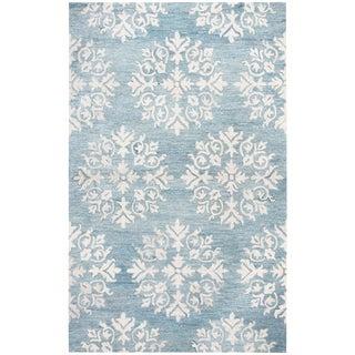 Hand-Tufted Napoli Aqua Blue Medallion Wool Area Rug  (8' x 10') - 8' x 10'