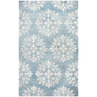 Hand-tufted Leone Aqua Blue Medallion Wool Area Rug  (9' x 12')