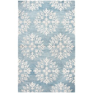Hand-tufted Leone Aqua Blue Medallion Wool Area Rug (9' x 12')