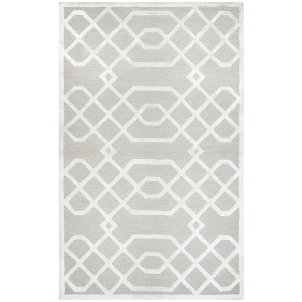 Hand-tufted Monroe Beige Trellis Wool and Viscose Area Rug (8' x 10')