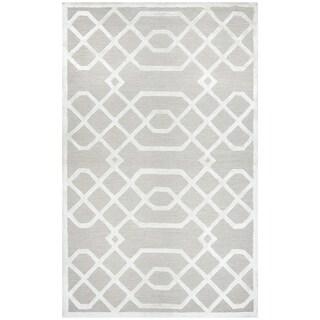 Hand-tufted Monroe Beige Trellis Wool and Viscose Area Rug (8' x 10')