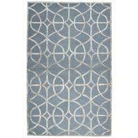 Hand-Tufted Monroe Ivory Trellis Wool & Viscose Area Rug - 8' x 10'