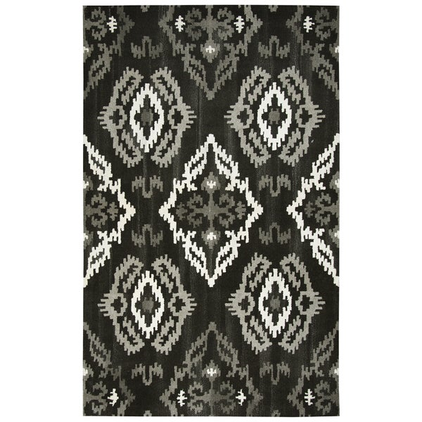 Hand-tufted Suffolk Black Medallion Ikat Wool Area Rug (8' x 10')
