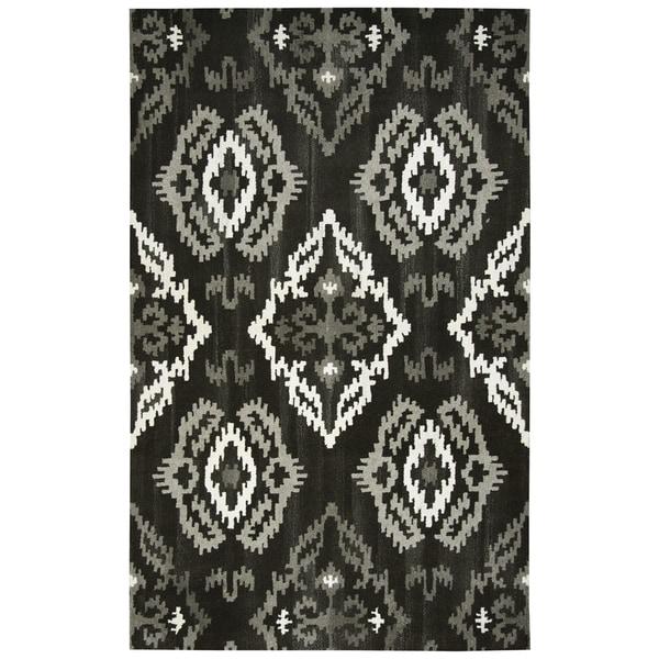 Hand-tufted Suffolk Black Medallion Ikat Wool Area Rug (9' x 12')