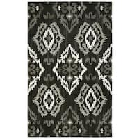 Hand-tufted Suffolk Black Medallion Ikat   Wool Area Rug  (9' x 12')