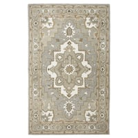 Hand-tufted Suffolk Grey Oriental Medallion  Wool Area Rug  (8' x 10')