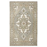 Hand-tufted Suffolk Grey Oriental Medallion  Wool Area Rug  (8' x 10') - 8' x 10'