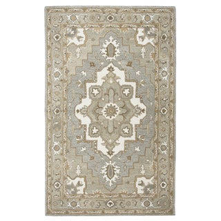 Hand-tufted Makalu Grey Oriental Medallion  Wool Area Rug  (9' x 12') - 9' x 12'