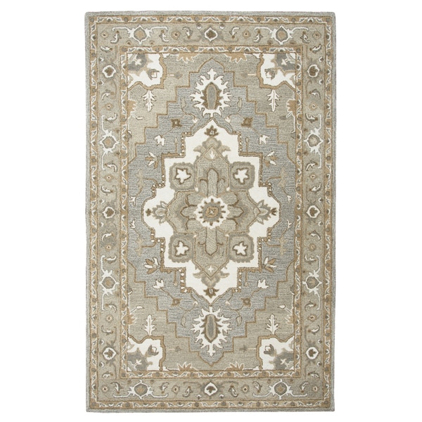 Hand-tufted Suffolk Grey Oriental Medallion Wool Area Rug (9' x 12')