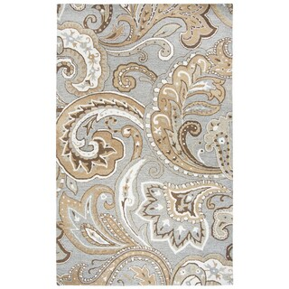 Hand-tufted Makalu Grey Paisley   Wool Area Rug  (9' x 12') - 9' x 12'