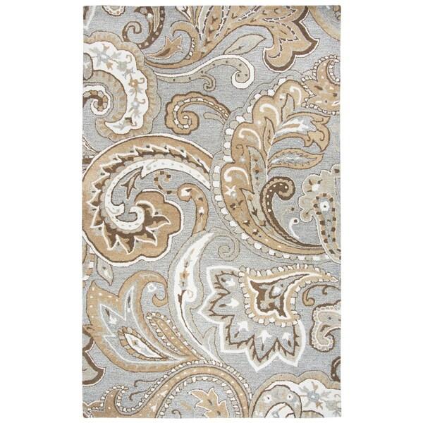 Hand-tufted Suffolk Grey Paisley Wool Area Rug (9' x 12')