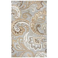 Hand-tufted Suffolk Grey Paisley   Wool Area Rug  (9' x 12') - 9' x 12'