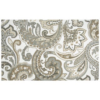 Hand-tufted Makalu Beige Paisley   Wool Area Rug  (8' x 10') - 8' x 10'