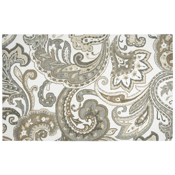 Hand-tufted Suffolk Beige Paisley Wool Area Rug (8' x 10') - 8' x 10'