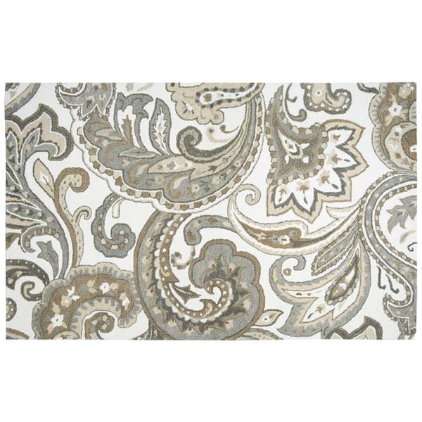 Hand-tufted Suffolk Beige Paisley Wool Area Rug (9' x 12') - 9' x 12'