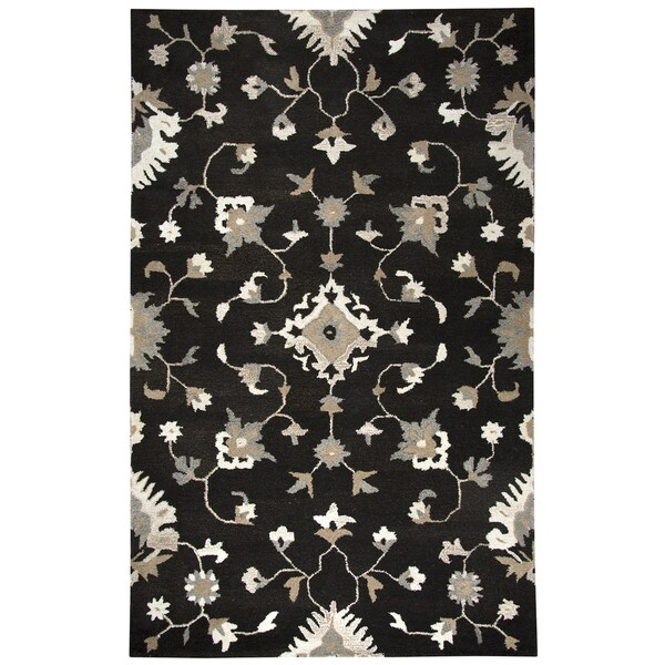 Hand-tufted Suffolk Brown Oriental/ Floral Wool Area Rug (9' x 12')