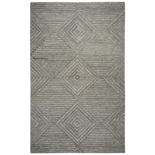 Hand-tufted Suffolk Grey Geometric/ Solid Wool Area Rug (8' x 10')
