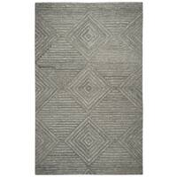 Hand-tufted Suffolk Grey Geometric/ Solid  Wool Area Rug  (8' x 10')