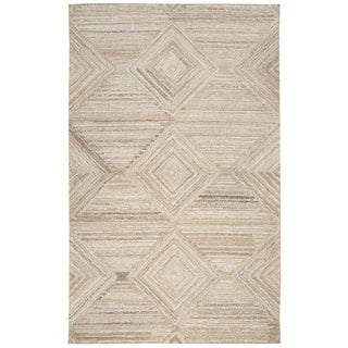 Hand-Tufted Makalu Tan Geometric/Solid 100-percent WOOL Area Rug  (8' x 10') - 8' x 10'