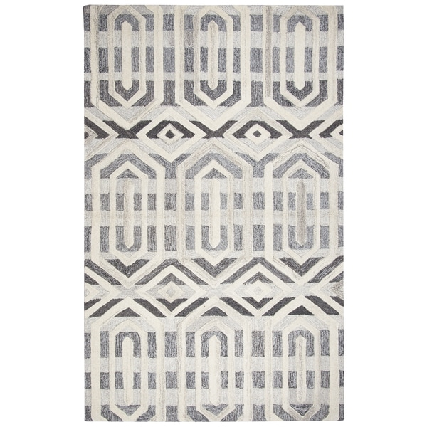 Hand-Tufted Suffolk Gray Geometric 100-percent WOOL Area Rug - 8' x 10'