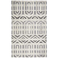 Hand-Tufted Suffolk Gray Geometric 100-percent WOOL Area Rug  (8' x 10') - 8' x 10'