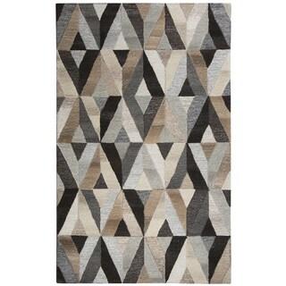 Hand-tufted Suffolk Grey Geometric  Wool Area Rug  (8' x 10')
