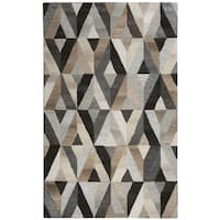 Hand-tufted Suffolk Grey Geometric  Wool Area Rug  (8' x 10') - 8' x 10'